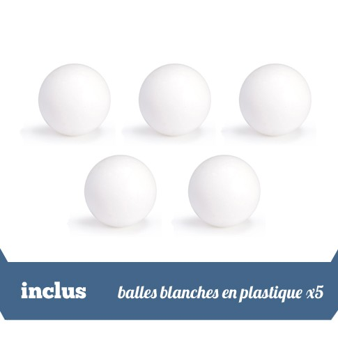 pack 5 balles blanches en plastique