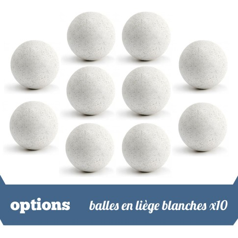 Pack 10 balles liege blanches