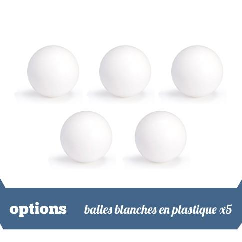 Pack 5 balles blanches plastique
