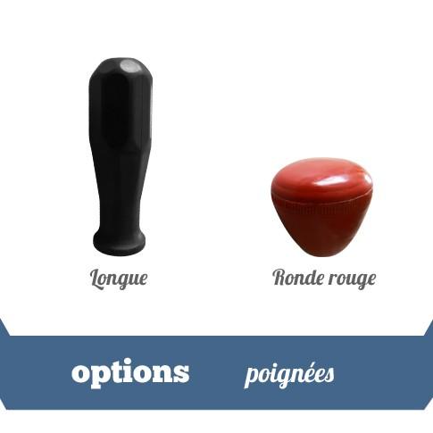 poignees longues ou rondes rouges