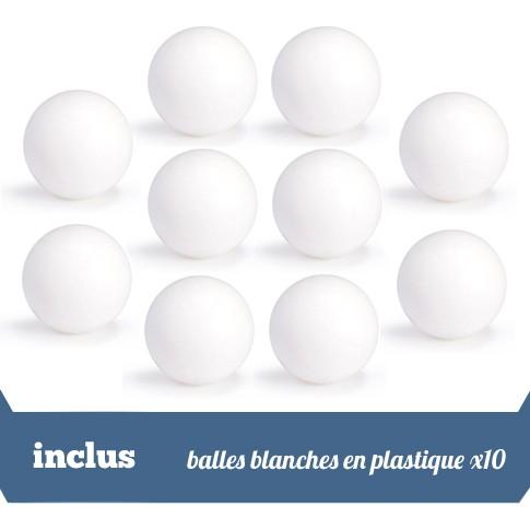 Pack 10 balles blanches en plastique