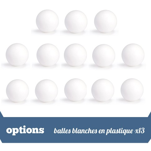 Pack 13 balles blanches plastique
