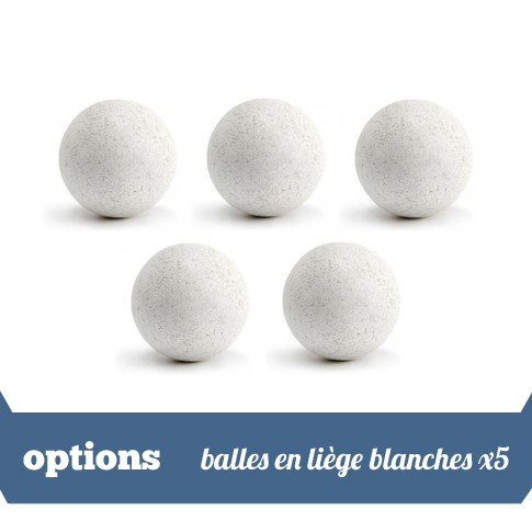 Pack 5 balles liege blanches