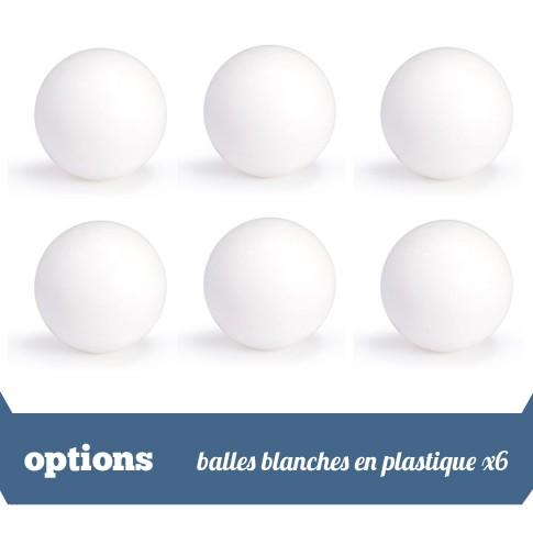 Pack 6 balles blanches plastique
